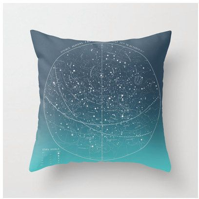 DIY OMBRE Summer Stars vintage celestial chart pillow by saltlabs