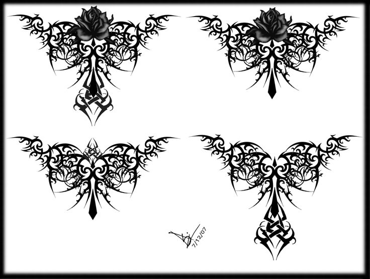 Tribal Rose Tattoo Designs for Women | Gothic Tribal Rose Tattoo