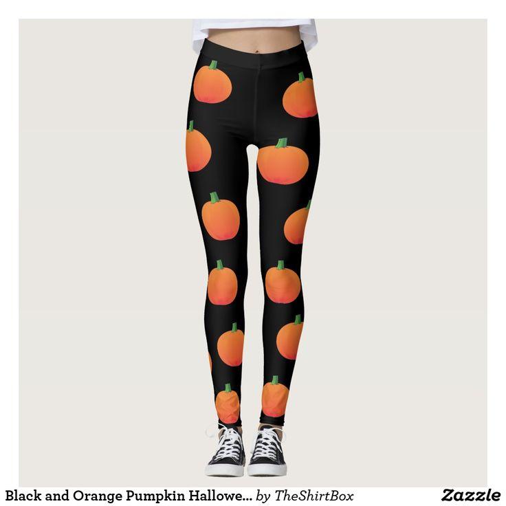 Black and Orange Pumpkin Halloween Leggings
