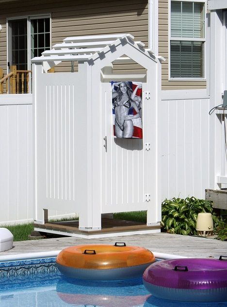 18 best images about outdoor showers on pinterest vinyls for Outdoor pool room ideas