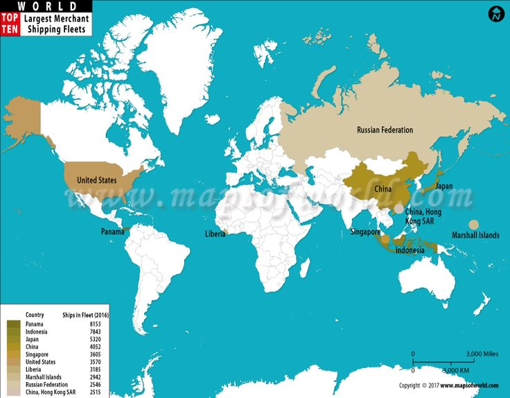 World Map Of The Countries With Largest Shipping Fleets Panama - World map panama