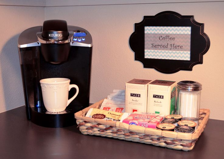 Add an easy-to-setup coffee station for your houseguest to make them feel more at home.