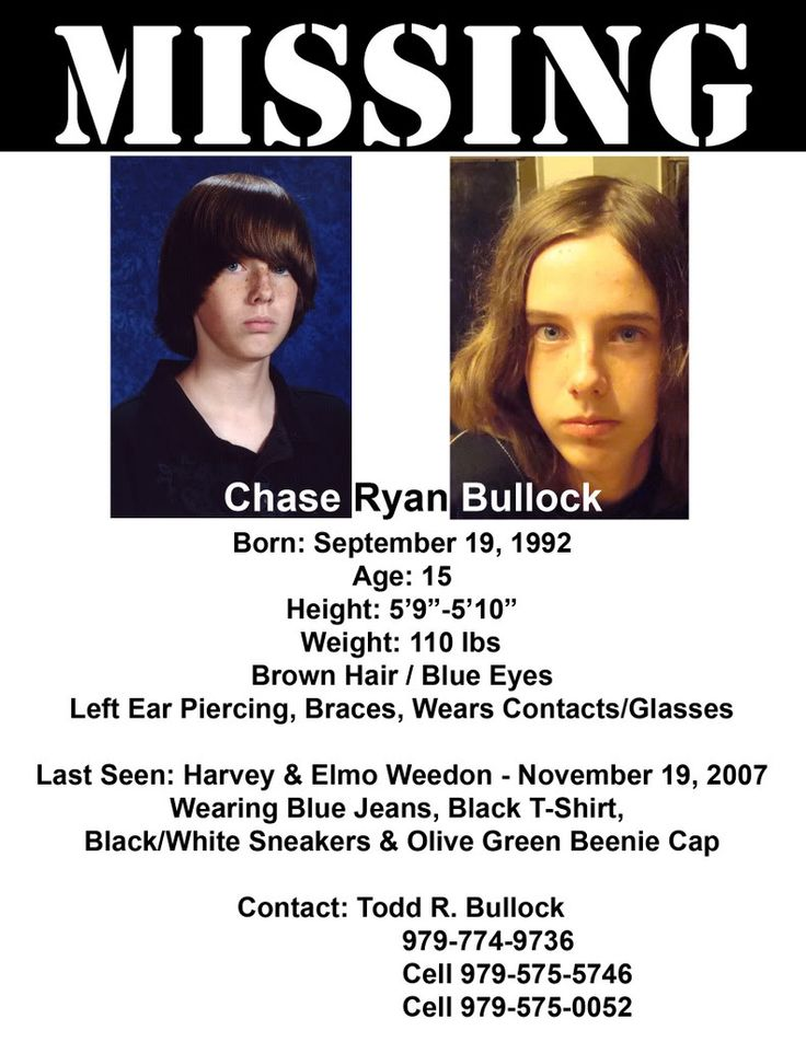 Robert Wayne McCullar, disabled Missing since 1995 Missing - missing person poster generator
