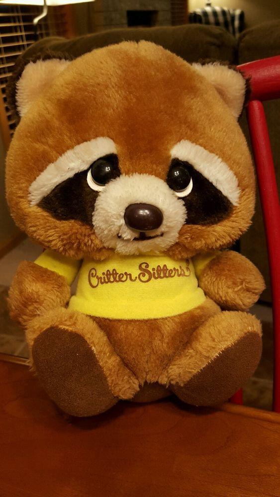 Vintage 1980's Critter Sitter Plush Raccoon