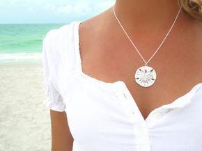 Sand Dollar Necklace Silver Sand Dollar Pendant by laromantica, $24.99