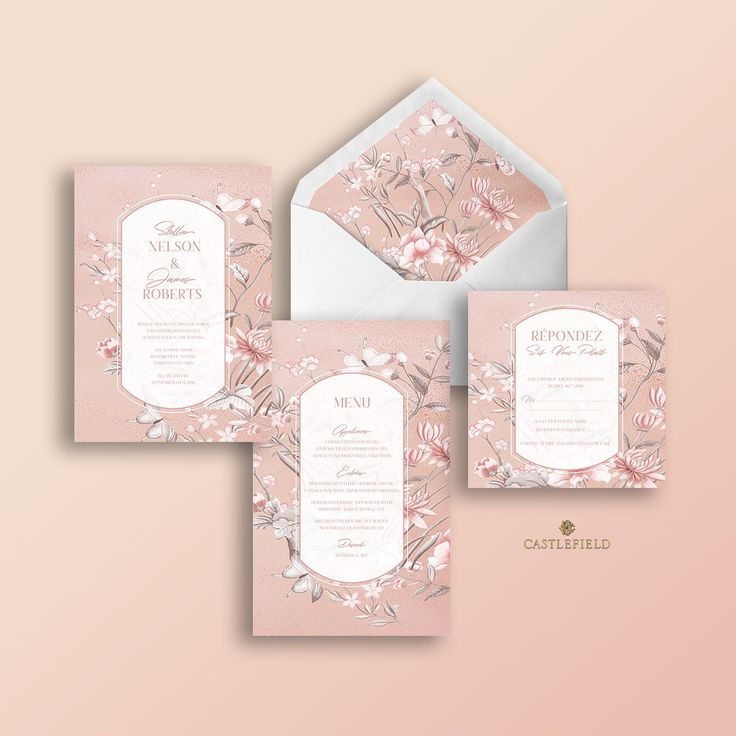 Castlefield Pink Mauve Floral Chinoiserie Wedding Invitations