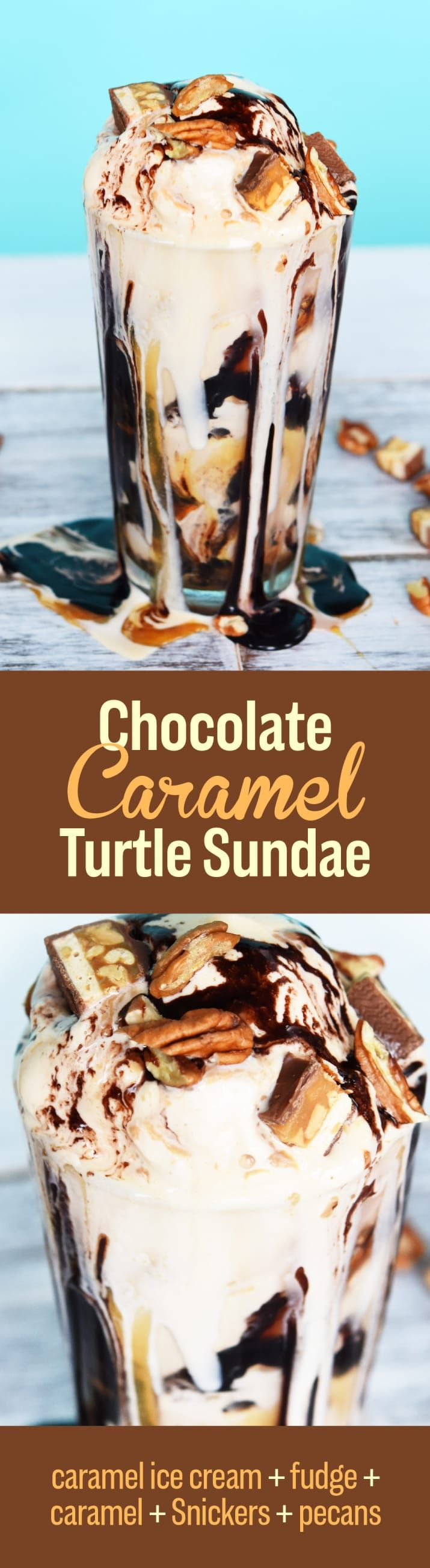 HOW TO: An ample amount of caramel and fudge sauce is key to this turtle-themed sundae. Spoon both between scoops of caramel ice cream, and add chopped Snickers and pecans to each layer. We used salted caramel ice cream, but you will #win if you can find a tub of Breyers' Snickers flavor. You can also swap the Snickers for actual chocolate and caramel turtles.