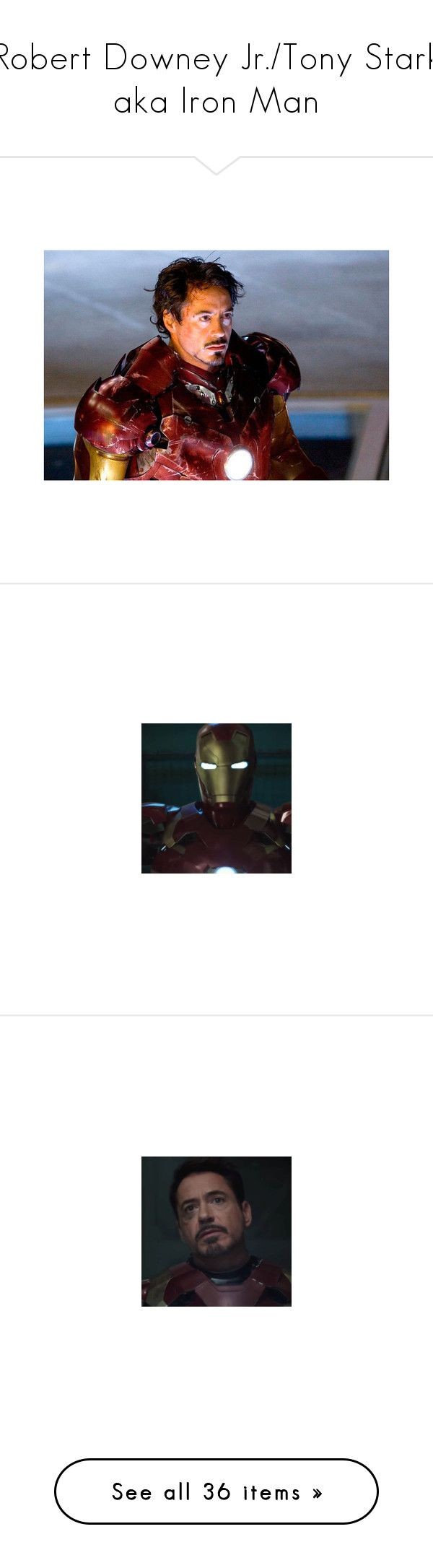 """Robert Downey Jr./Tony Stark aka Iron Man"" by nerdbucket ❤ liked on Polyvore featuring marvel, avengers, images, iron man, robert downey jr, superheroes, tony stark, pepper potts, people and the avengers"