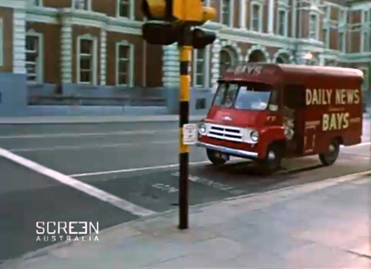 Daily News van outside Treasury Building, St George's Tce, Perth, 1965