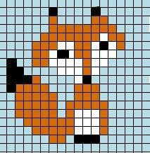 Fox pattern for cross stitch, Hama beads, duplicate stitch, or a mural.