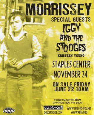 Sem muito auê, o cantor e compositor Morrissey anunciou nesta quinta-feira (21) pelo Facebook que os ingressos para o show que fará com a banda de rock Iggy and the Stooges começam a ser vendidos nesta sexta-feira (22)...