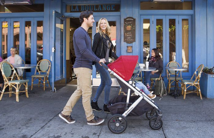 UPPAbaby Vista  The VISTA is a convertible stroller system that can transport up to three children without growing wider. Designed to adapt as your family grows, the VISTA accommodates your precious cargo from birth through the toddler years.