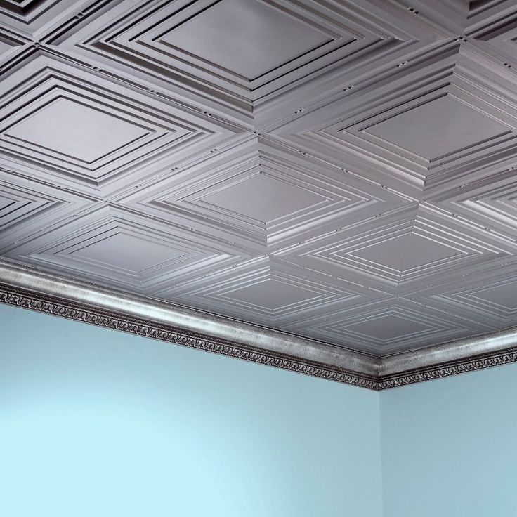 Fasade Traditional Style #3 Argent Silver 2 ft. x 4 ft. Glue-up Ceiling Tile (Sample 12 in x 12 in Trad 3 Argent Silver)