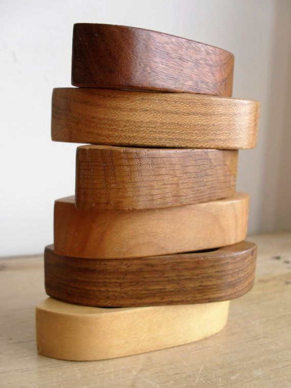 Mid-Century Carved WOODEN NAPKIN RINGS Set of by BigGirlSmallWorld