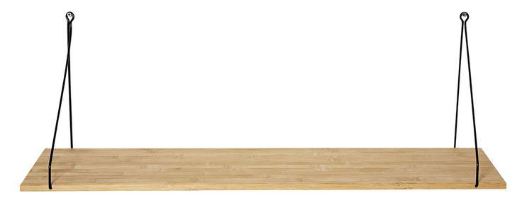 B: 80 x H: 26 x D: 24 cm Smart og moderigtig væghylde til stue, værelset, bryggers eller køkken. Fås i 3 str. Ophænget er lavet i metal