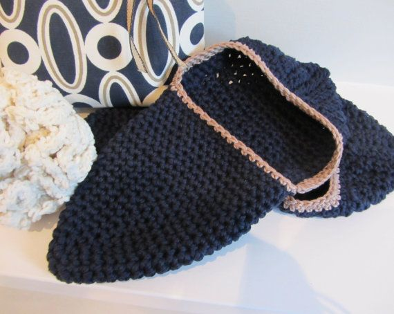 Cotton crocheted slippers various colours by FlaxandLoom on Etsy