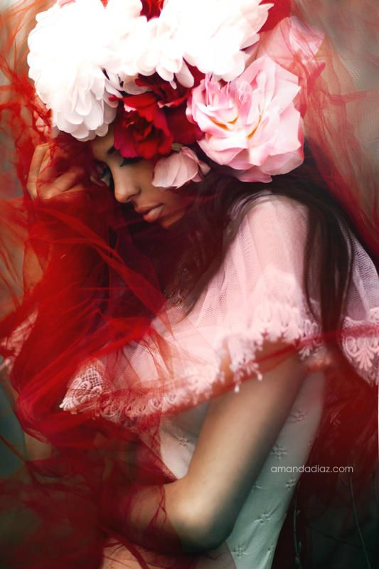 Amanda Diaz - #Fashion #Photography - Fashion #Portrait - Dress - #Couture - Luxury - Sensual - Romantic - High Fashion - Red - Flowers - Beauty