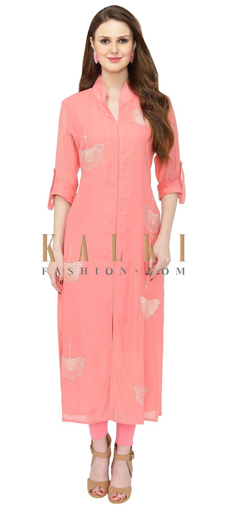 Peach Georgette Kurta Featuring Resham Embroidery only on Kalki
