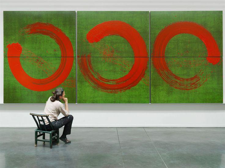 Fabienne Verdier, cercles ascèse. Pigments en encre sur toile.