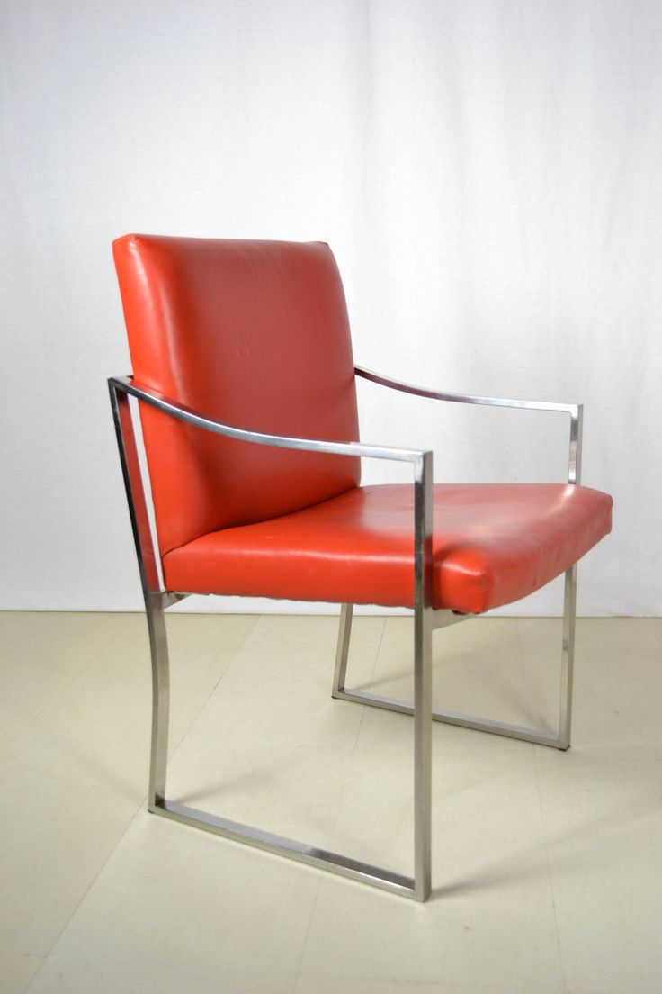 Mid Century Modern Chrome and Leather Stow Davis Side Chair by OffCenterModern on Etsy