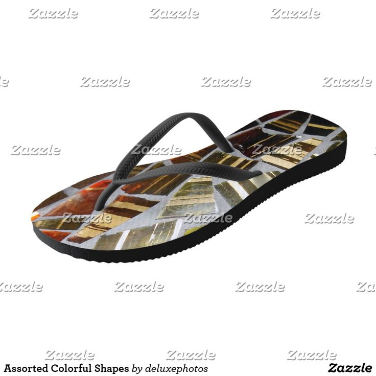 Assorted Colorful Shapes Flip Flops