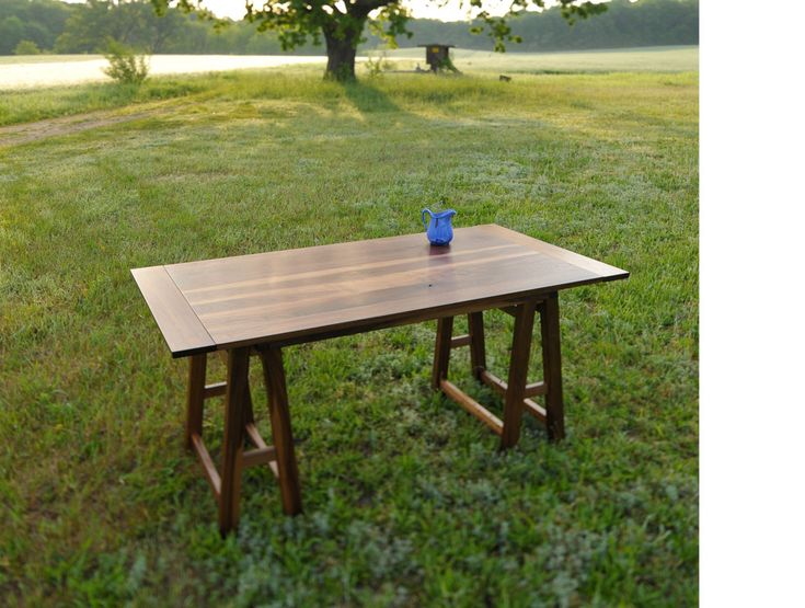 Geoffrey Keating Collections: Annau0027s Table X X Ends Extend To Accept Leaves  Black Walnut