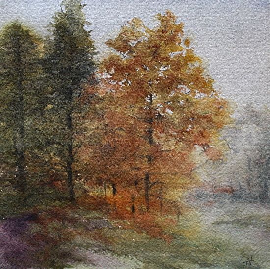 Just Morning by Ann Vaillencourt Watercolor ~ 16 x 16
