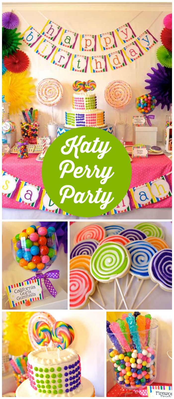 What a cool Katy Perry party! It has a rainbow candy theme! See more party planning ideas at CatchMyParty.com!