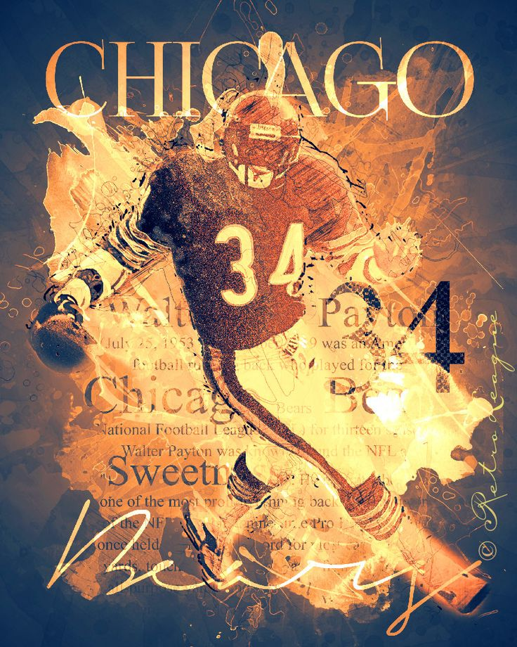 34 Walter Payton - Chicago Bears Retro Typography Art Piece - Perfect Birthday Anniversary or Diehard Bears Fan Gift - Unframed Print