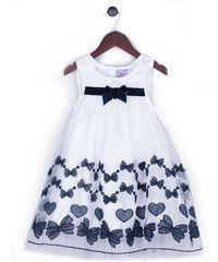 Joe and Ella Fashion Dívčí šaty Adelle s mašličkami - bílo-černé