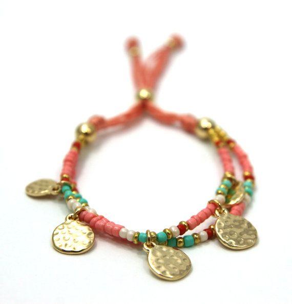 Mixed Seed Bead Bracelet, Delicate Bracelet, Bracelet, Pattern Bracelet, Charm Bracelet, Stackable Bracelet, Hammered Charm, Stack Bracelet