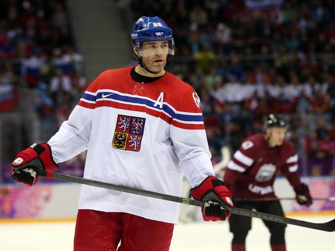 Czech Republic forward Jaromir Jagr (68) in a men's preliminary round ice hockey game.