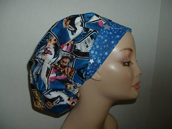 Star Wars Blue Silver Stars Bouffant OR Surgical Scrub Hat CNOR CRNA