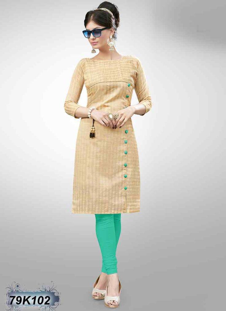 Ambitious Beige Coloured Cotton Silk Kurti