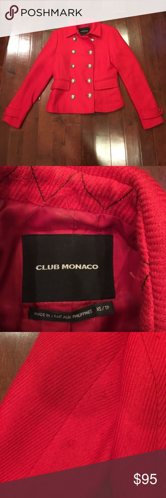 Club Monaco red pea coat jacket Has some wear. Some pulls and spots throughout. Vibrant red color. Club Monaco Jackets & Coats Pea Coats
