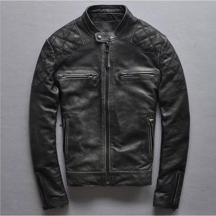Vintage black sheepskin leather jacket