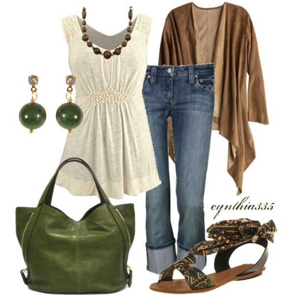 Pretty Neutrals, created by cynthia335 on Polyvore: Shoes, Style, Earth Tones, Shirts, Green, Jeans, Fall Outfits, Casual Outfits, Bags
