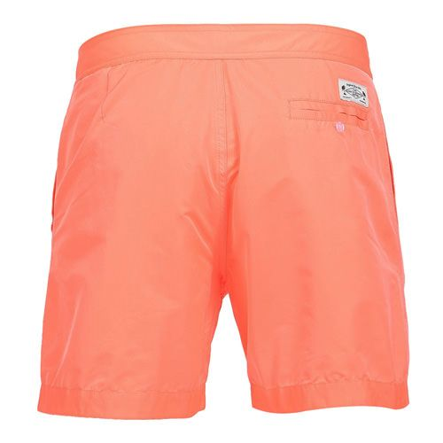 BOARDSHORTS COLOR ORANGE Fluorescent orange memory contact polyester mid-length Boardshorts. Fixed waistband with Velcro closure and adjustable drawstring. Two front pockets and back buttoned pocket. Cuisse de Grenouille brand patch on back. Internal net. COMPOSITION: 100% POLYESTER. Model wears size L, he is 189 cm tall and weighs 86 Kg.