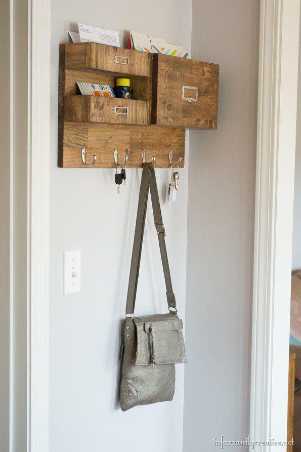 wooden mail key wall organizer