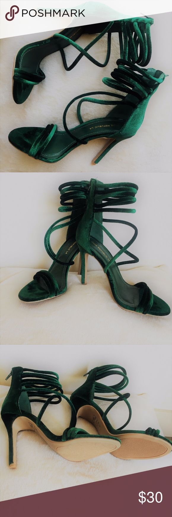 "Green Velvet Strappy Heels (Price Negotiable!) Beautiful emerald green strappy heels, perfect for the holiday season! Great condition, worn once to holiday party.  Heel height: 4.25"" Shaft height: 4.75"" Shoe Republic LA Shoes Heels"