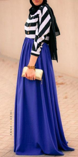 Modest long sleeve maxi dress black and white stripe top with blue skirt stylish trendy fashion | Mode-sty tznius hijab muslim mormon jewish christian lds islamic