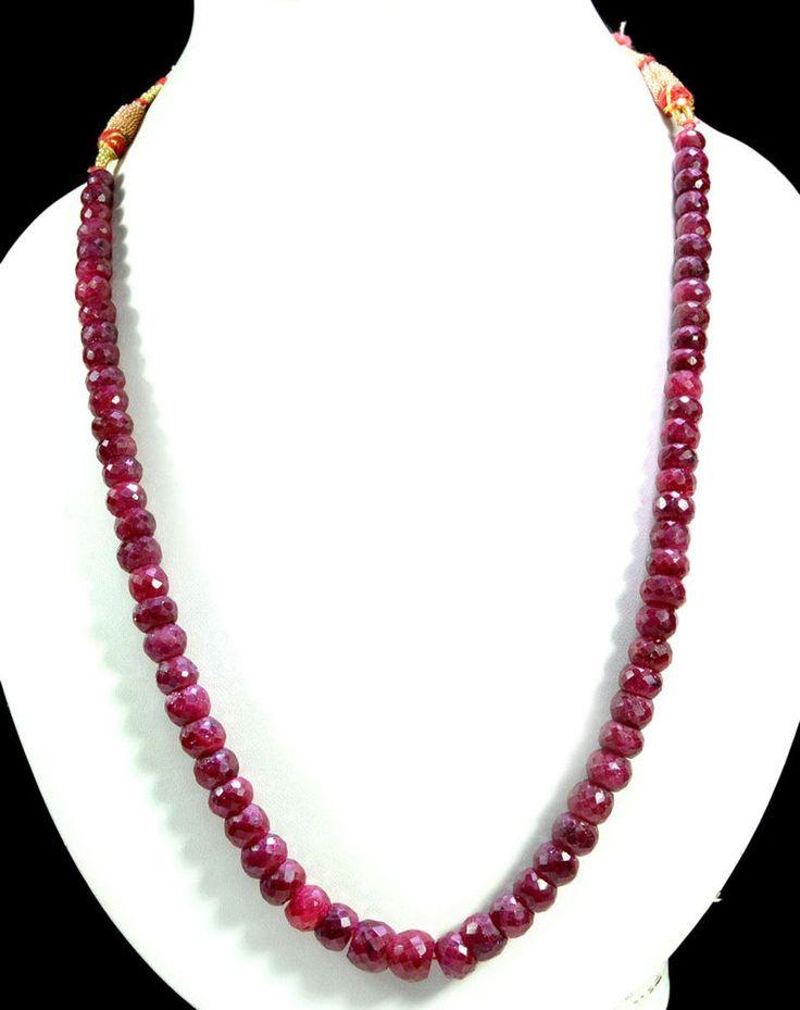 Natural Blood Red Ruby 410ct Big Size Faceted Beaded Gemstone String Necklace #KrishnaGemsNJewels #StrandString