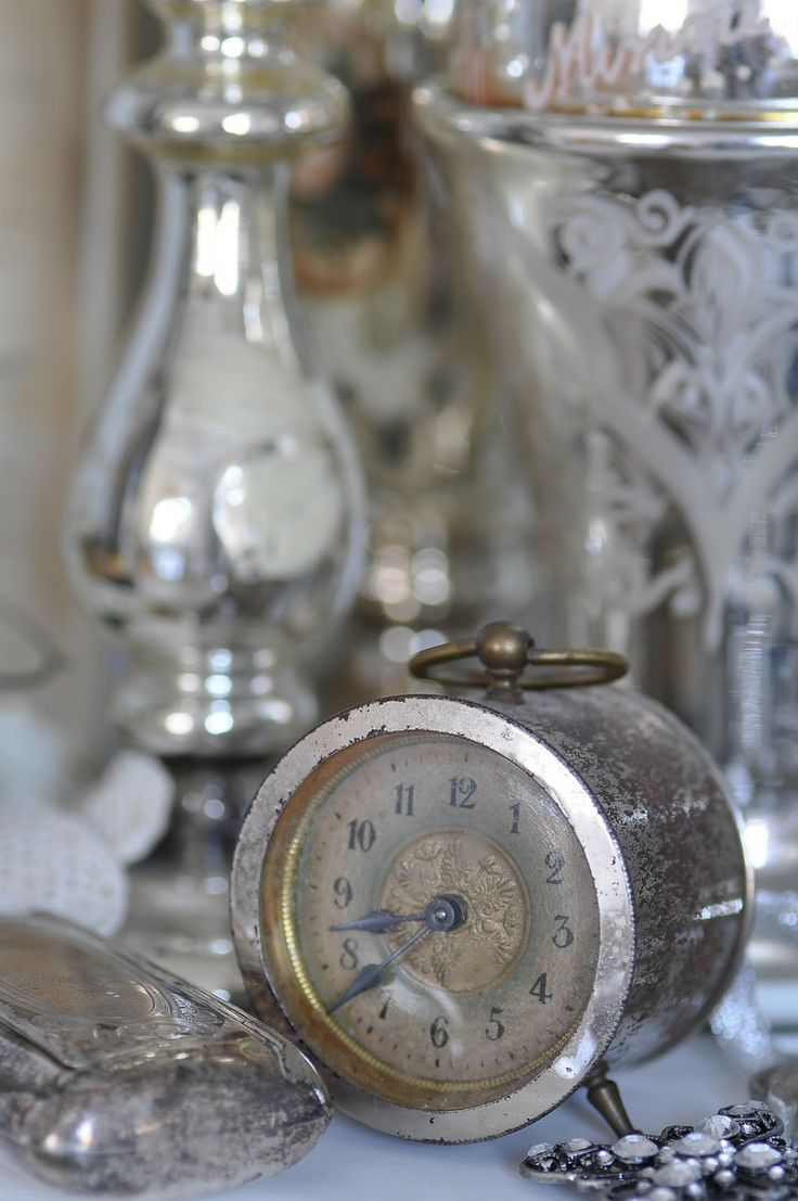 "Old clock  old silver add to any space..a sense of ""history""  ""elegance"""