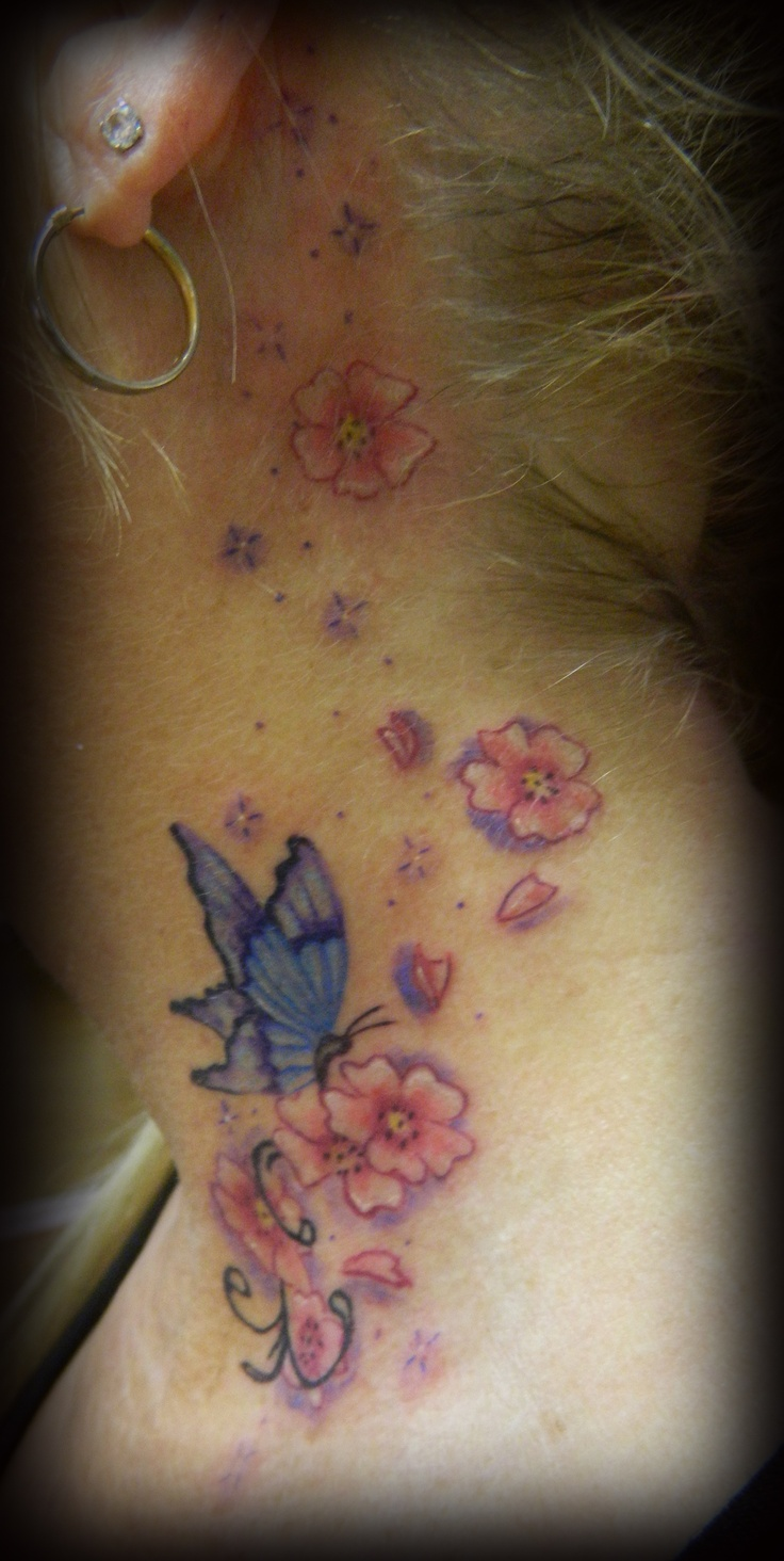 butterfly and cherry blossoms | tattoos | Pinterest ...