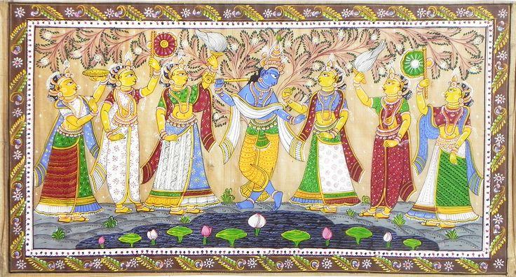 Radha+Krishna+with+Gopinis+(Orissa+Paata+Painting+on+Tussar+Silk+-+Unframed)