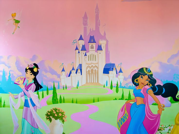 Best 25 princess mural ideas on pinterest castle mural for Disney princess castle mural