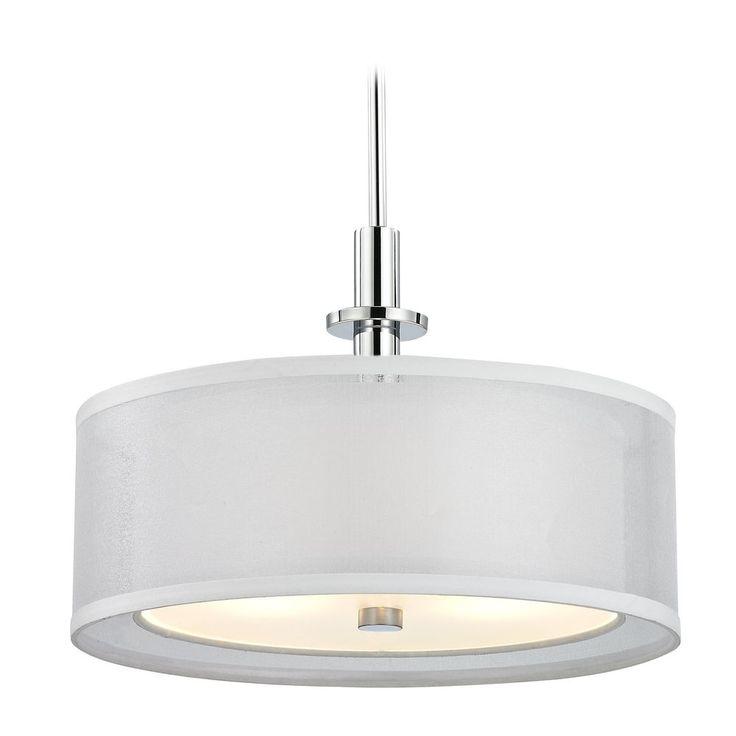 dolan designs lighting modern drum pendant light with white shade in chrome finish - Drum Pendant Lighting