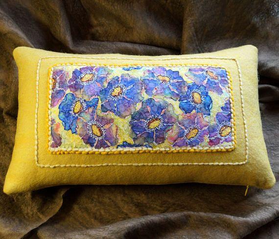Felt Flower pillow cover Yellow cushion cover Art Felting wool pillow for couch  yellow sofa pillow form nuno felting Rest pillow insert