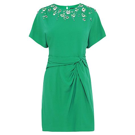 Buy Karen Millen Hand Embellished Kimono Sleeve Dress, Green Online at johnlewis.com