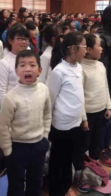 Simply the boy likes to sing a lot
